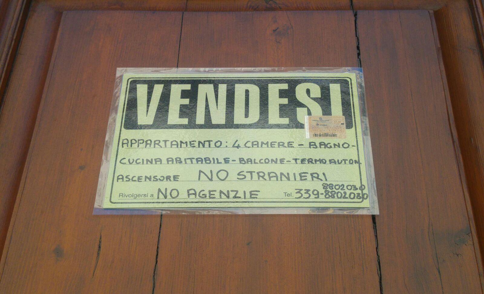 Appartamento in vendita non vogliamo stranieri for Vendesi appartamento