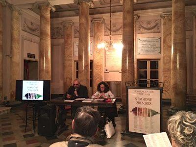 Il pres. Amat Santini e l'assessora alla cultura Venanzoni davanti ai giornalisti