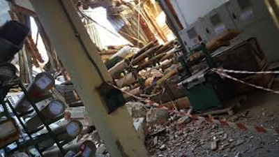 La sede di Pioraco dopo il sisma